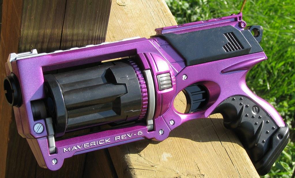 Purple and black Nerf Maverick beauty shot  The