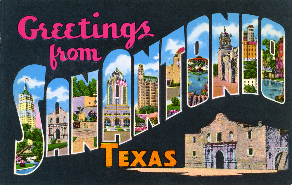 Greetings From San Antonio Texas Large Letter Postcard