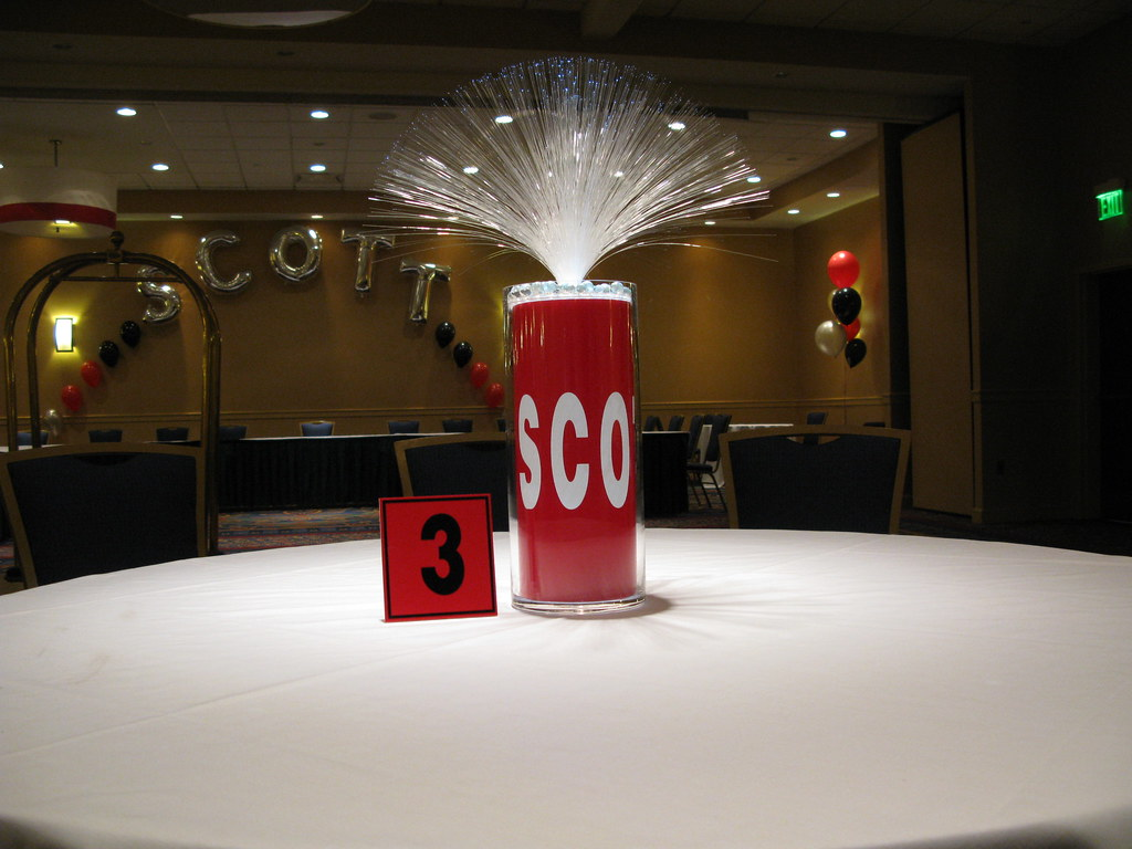 Custom Fiber Optic Centerpiece With Matching Table Number