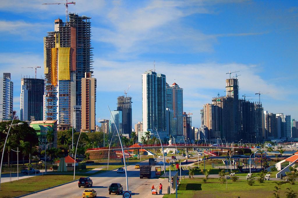 Construction on the Cinta Costera Panama City Panama