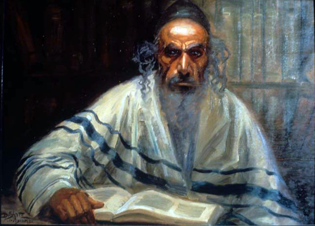 Painting 7571 Portrait of a Man Studying Torah by Bori