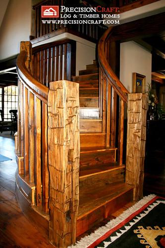 Idaho Timber Frame Home  Custom Designed Staircase  Flickr
