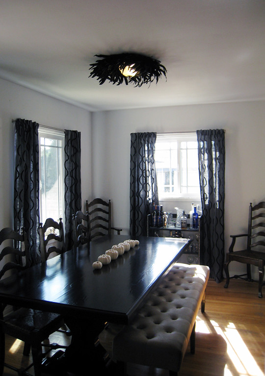 Dining Room Table With Bench Bar Feather Ceiling Light Diy