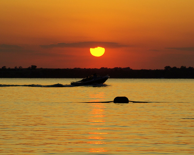 Sunset over Canton Lake, Oklahoma, August 29, 2009