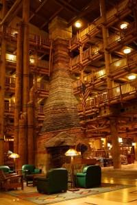 Walt Disney World Wilderness lodge- main lobby fireplace ...