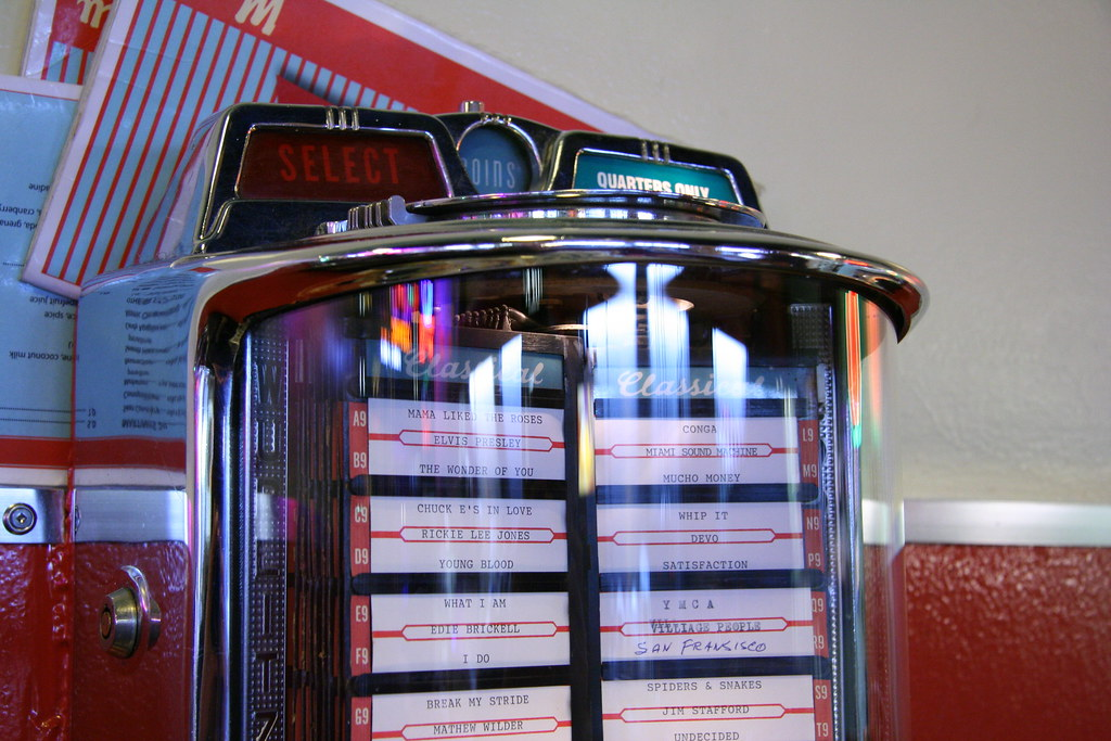 Old style jukebox at table in restaurant  The Templeton re  Flickr