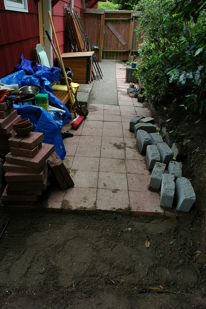 Red Brick patio progress building the dog run path sand