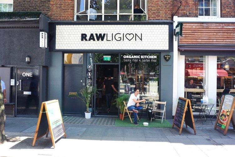 Rawligion shop front | raw vegan, gluten free, dairy free, plant based | Rawligion gluten free london | Fitzrovia