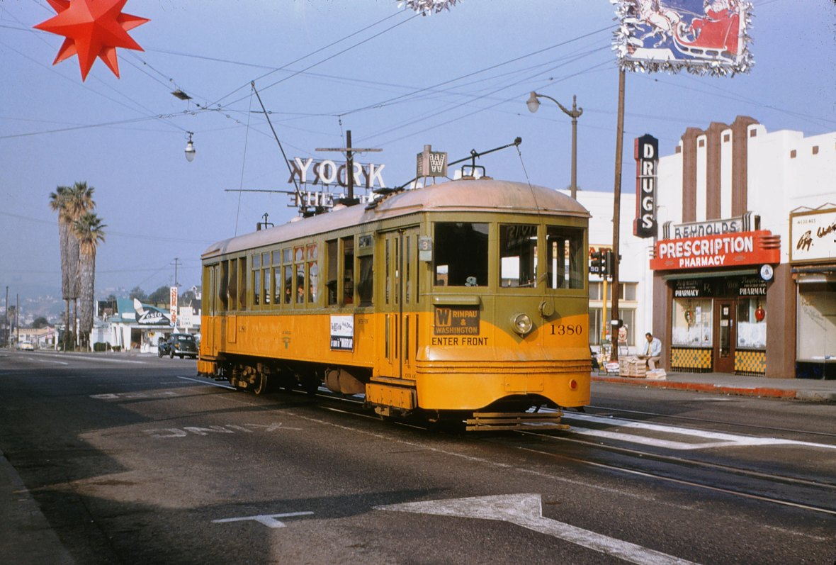 Los Angeles Transit Lines W Line Car No. 1280 - York Boulevard and Avenue 50, Los Angeles, California U.S.A. - December 20, 1954