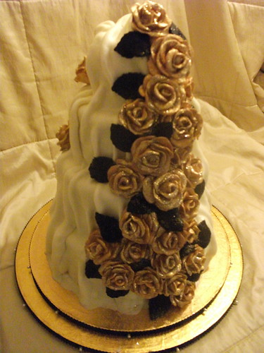 White Chocolate Rose Wedding Cake  4 tier cake 1st tier