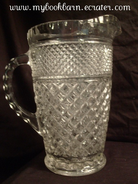 Vintage Anchor Hocking Wexford Crystal Glass Large Pitcher