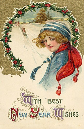 Vintage New Year Postcard Free To Use In Your Art Only