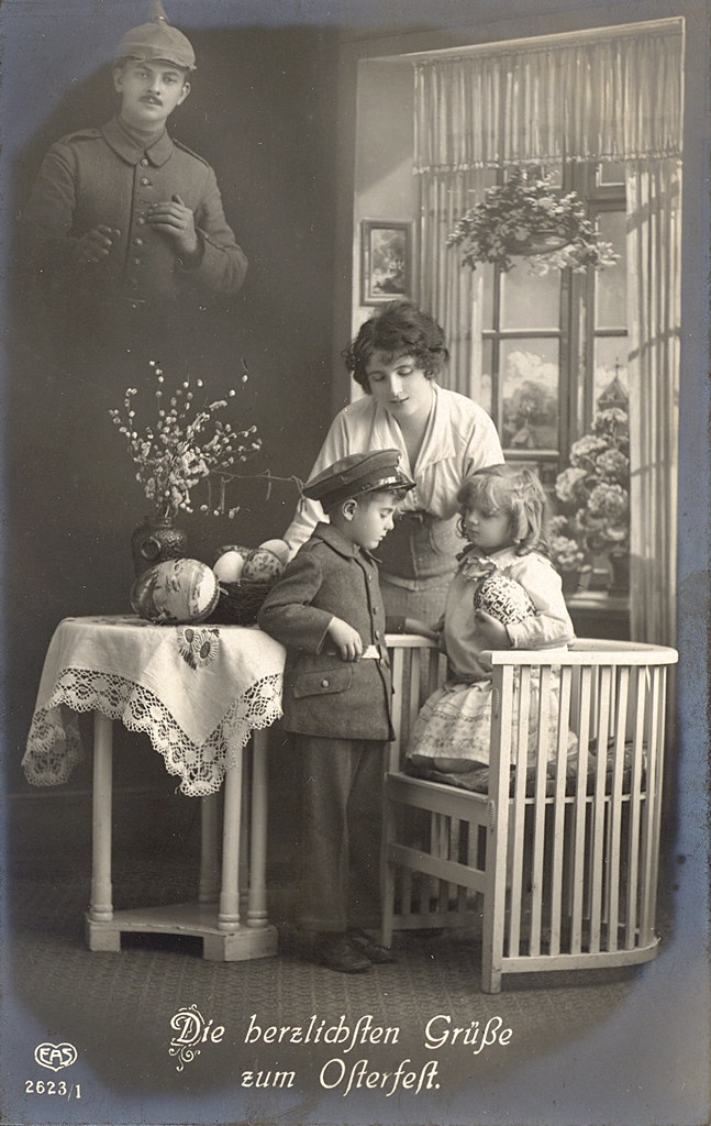 WWI German Photographic Easter Postcard  The Heartiest G