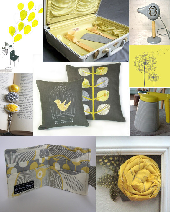 Kitschicagoan Yellow  Grey Mood Board  Here are the