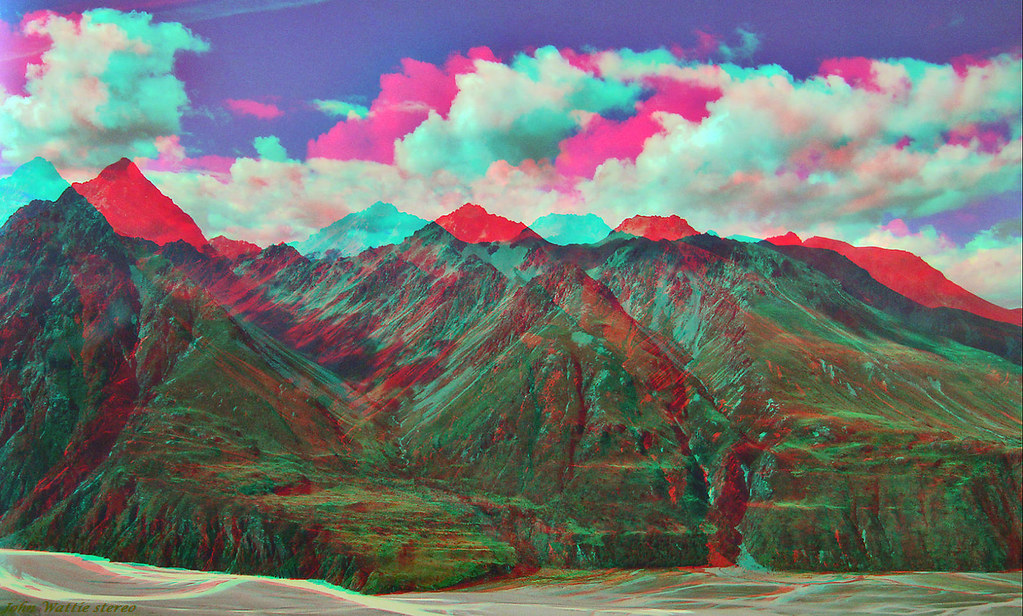 Valleys stereo anaglyph  Red Cyan glasses needed to