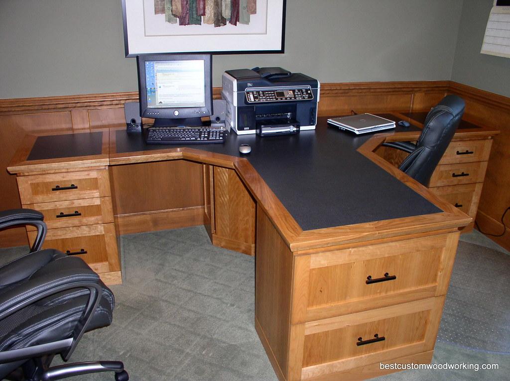 Custom Cherry Partner Desk Two Person  Custom made T