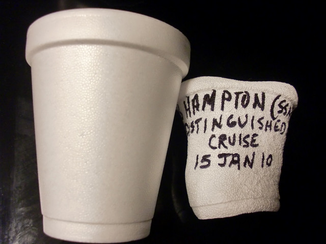 Styrofoam cup crushed by underwater pressure  Before the