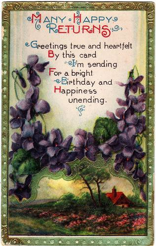 Many Happy Returns Vintage Birthday Greetings Postcard