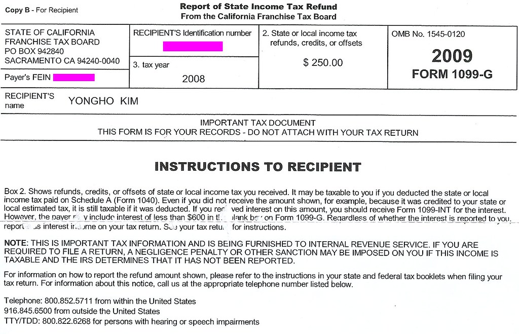 Report of State Income Tax Refund