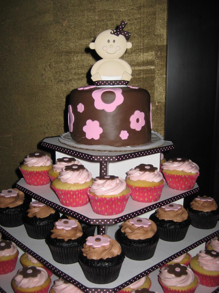 Baby Shower cupcake tower  Pink and brown baby shower