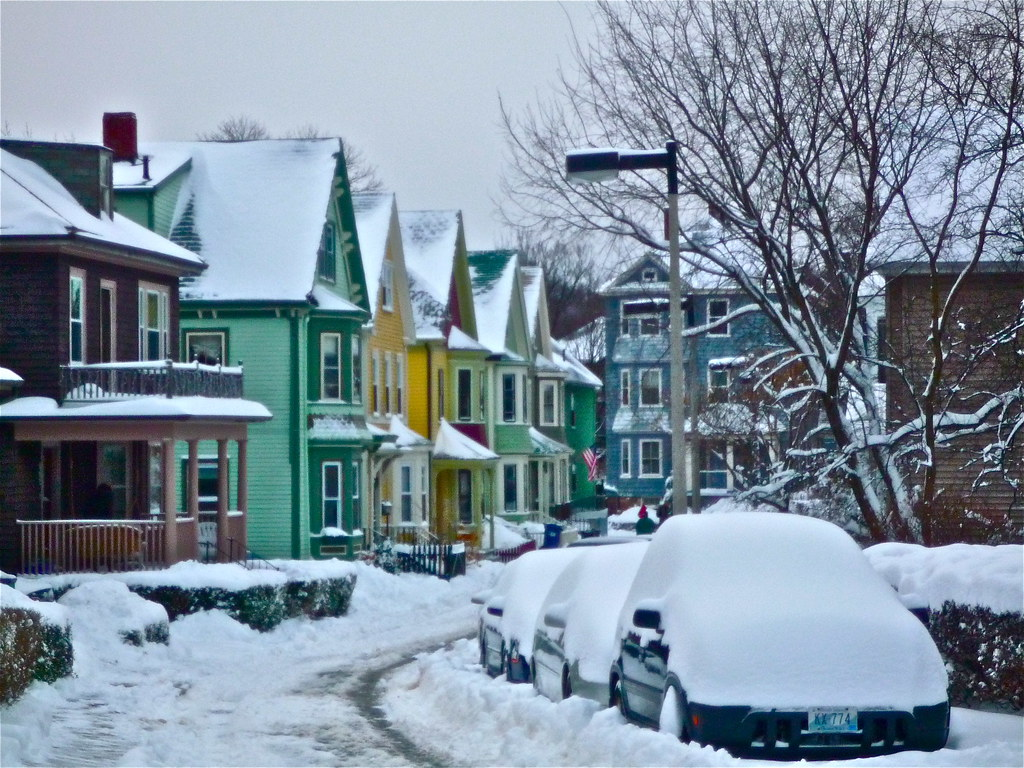 Colorful Houses in Snow  When many of the homes in