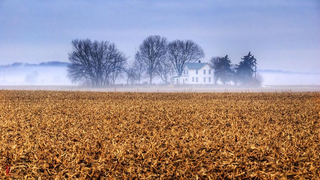 1366x768 Wallpaper Fall Kansas Farmhouse A White Farmhouse In Fog I Hope The