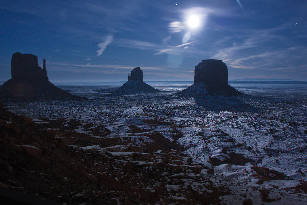 Room with a view  Monument Valley under snow by a full