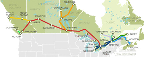 Map of Canada39s Via Rail network for private rail cars