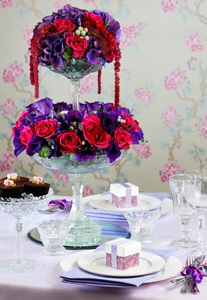 Afternoon Tea Table Setting With Cake Stand Centrepiece