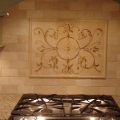 White Tile Backsplash Kitchen Rolling Island Cart Ikea Hand-painted | ...