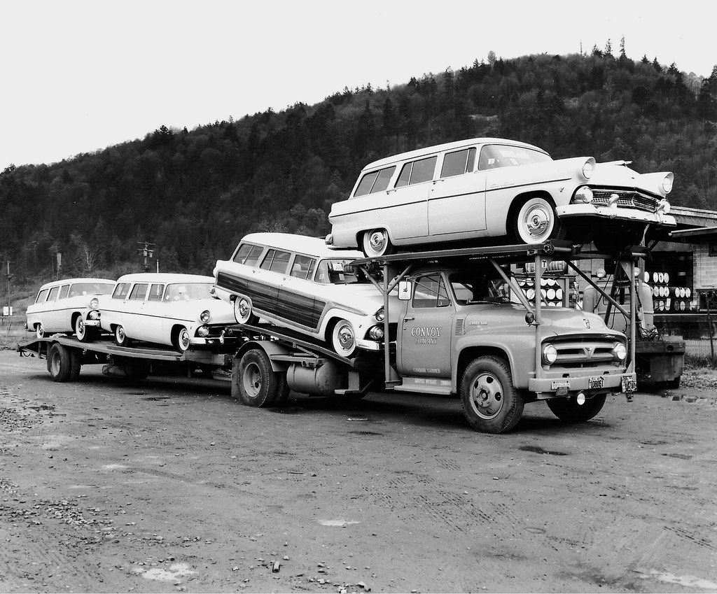 1955 Ford wagons on hauler  One of Convoys 53 Ford F600