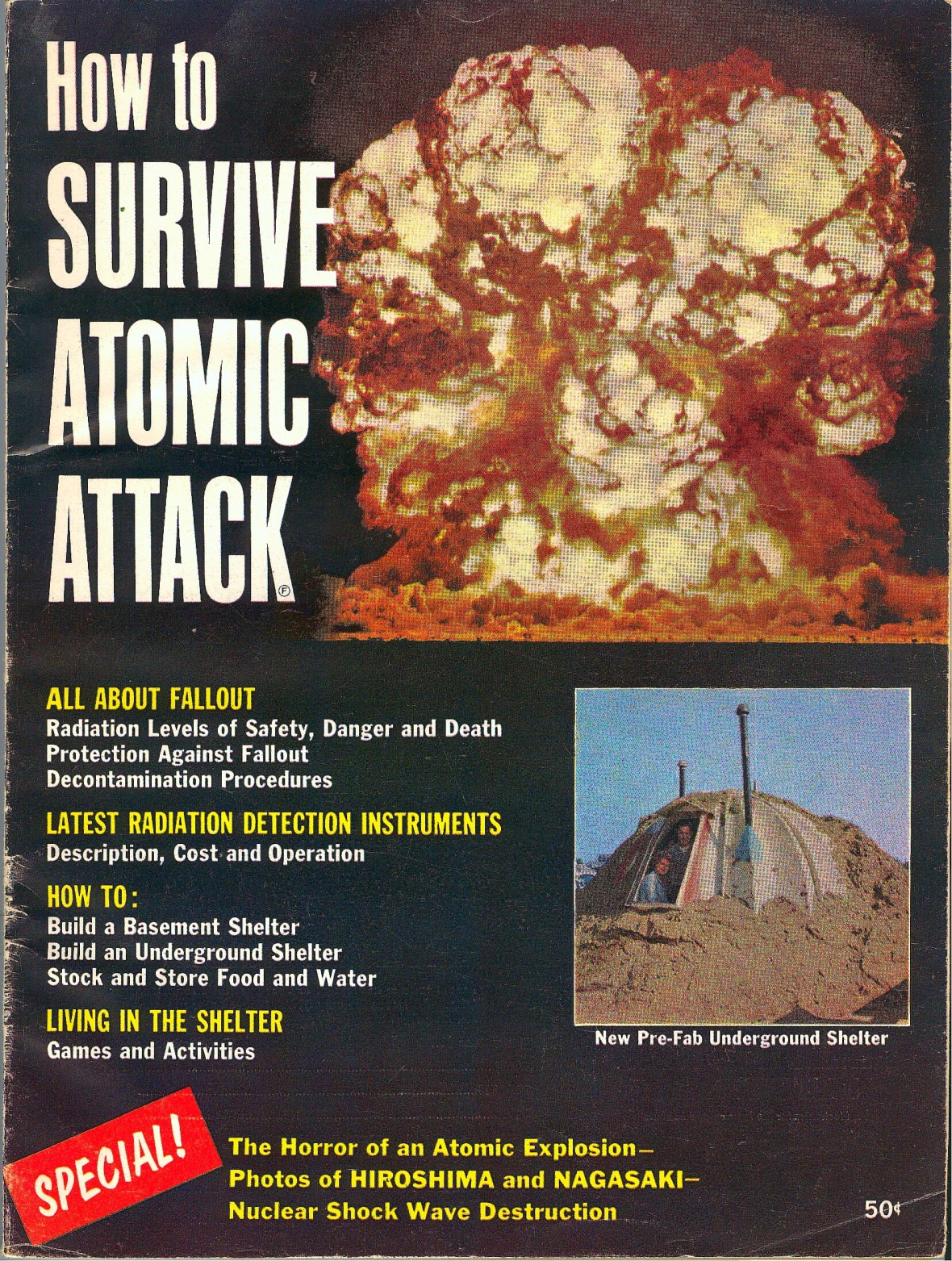 'How to Survive Atomic Attack' front cover - published by Fawcett Publications - 1961
