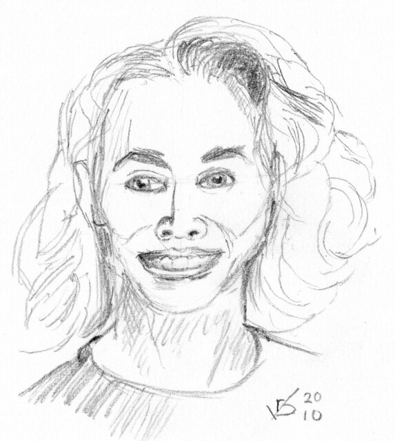 front view portrait of a woman, drawn on April 19,2010 (sk