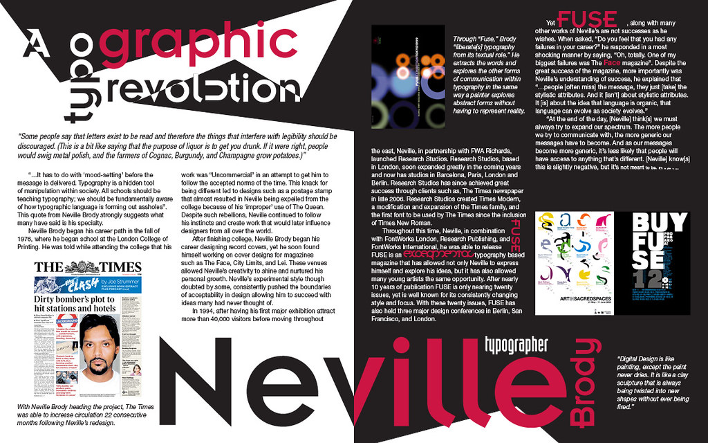 Neville Brody Magazine Spread For This Project I Was