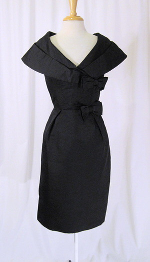 Black Silk Cocktail Party Dress Vintage 50s Shawl Collar H  Flickr