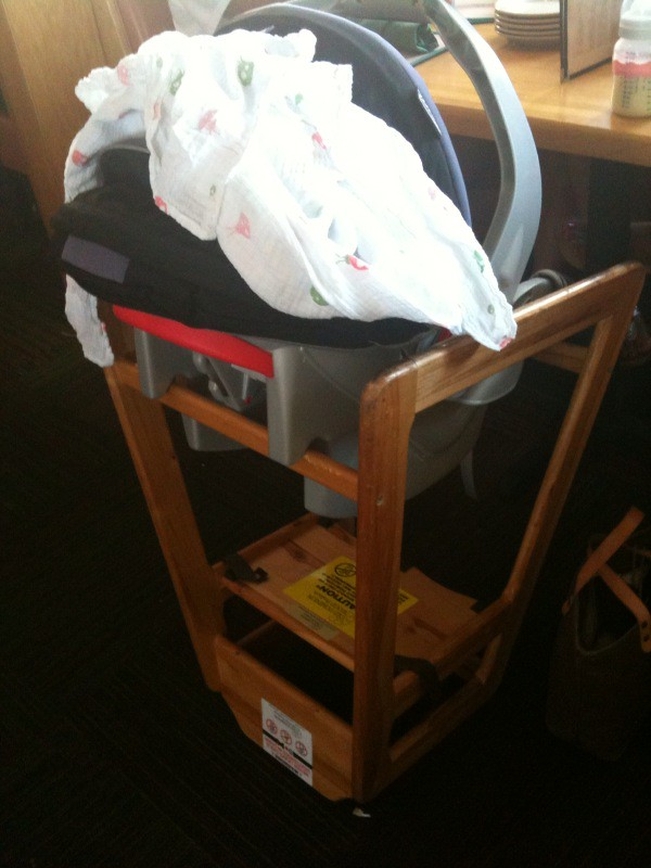 Infant car seat high chair for relaxed resturant dining