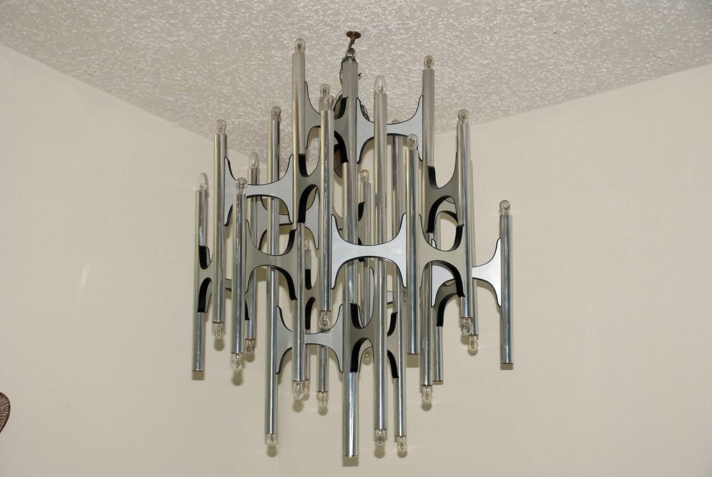 large vintage mid century modern chandelier  Gaetano