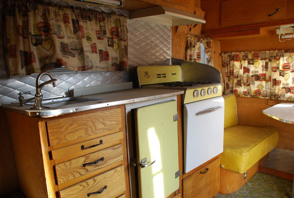 1957 Westerner travel trailer  The kitchen of our 1957
