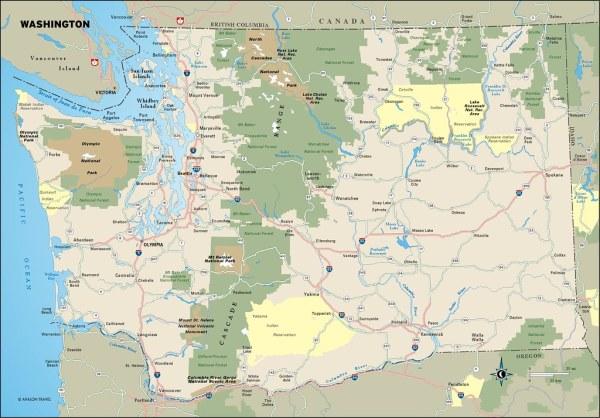 Washington travel map from Moon Washington Map of