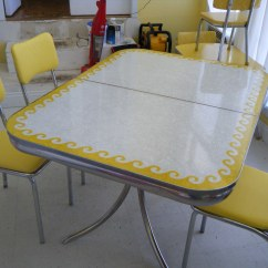 1950 S Yellow Formica Table And Chairs Buy Chair Covers Ireland Vintage Wave Awesome