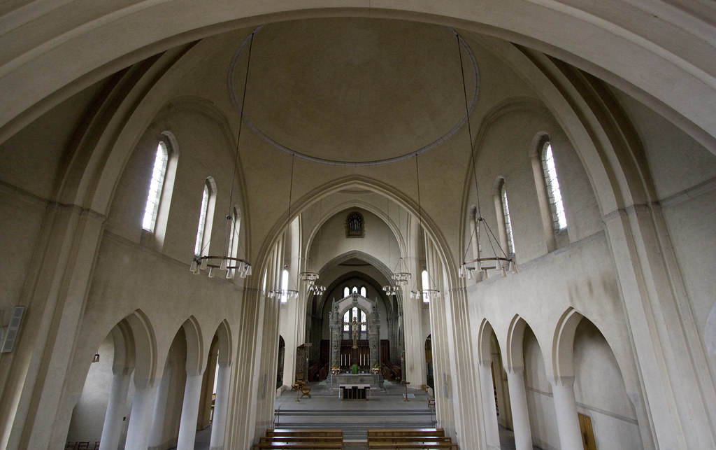 Inside Ampleforth Abbey church  Wideangle view of the