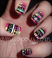 nail art aztec nails white