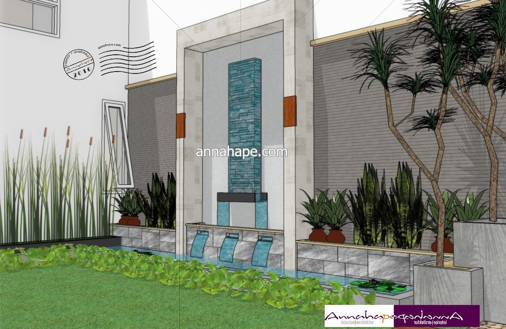 Desain Kolam Ikan dan Taman Minimalis  Design by Annahape