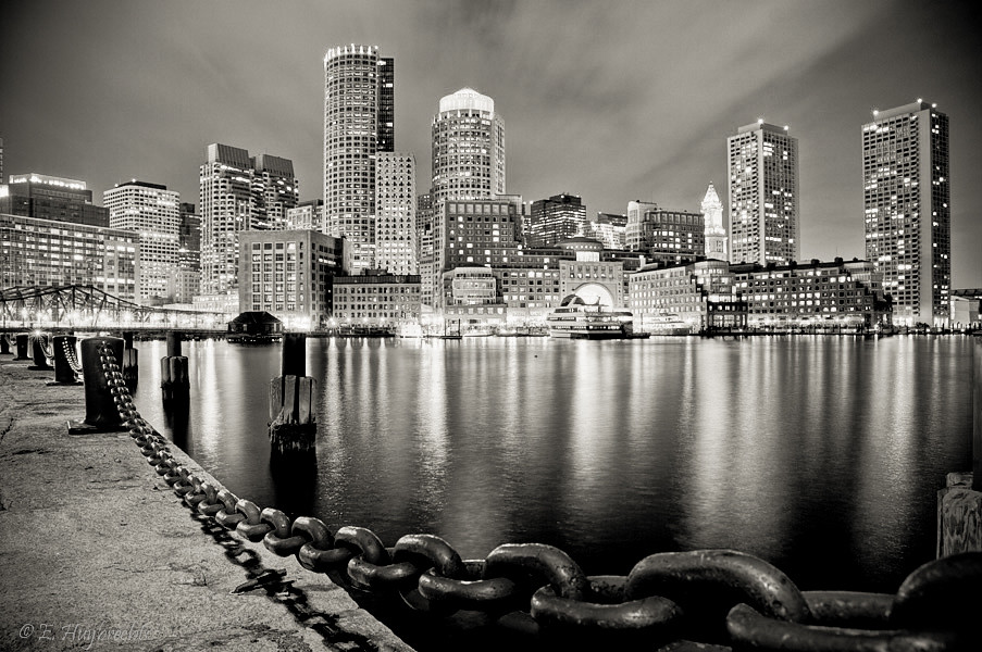 Boston Harbor at night  HDR made of 4 exposures then