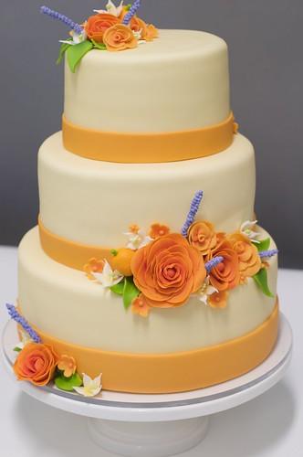 Orange Colored Rose Wedding Cake wwwstudiocakecom