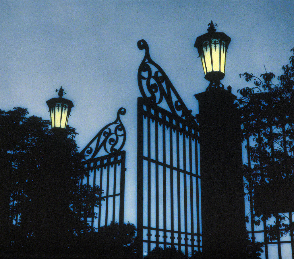 Temple Square gates at night  This is from a handtinted