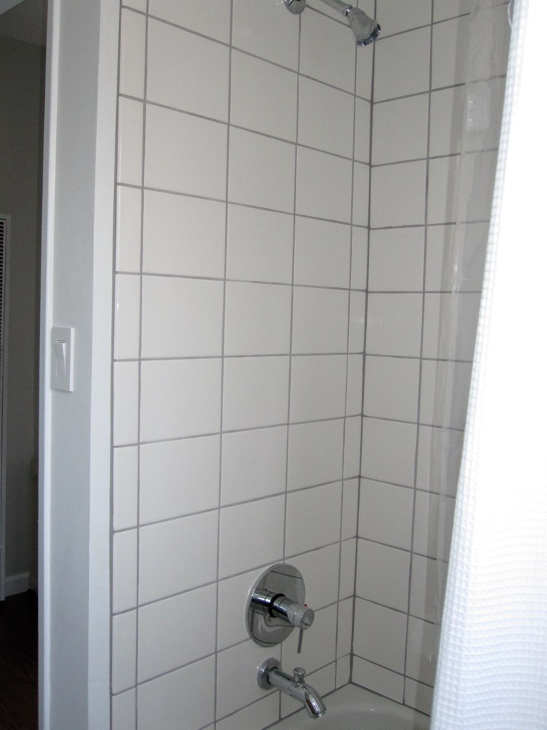 6x8 white shower tiles  new shower tiles and faucet from