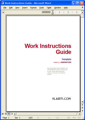 Cover Page On Work Instructions Template Cover Page On
