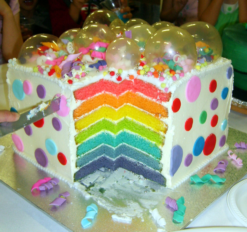 Large Surprise Rainbow Bubbles Cake  Inside picture This