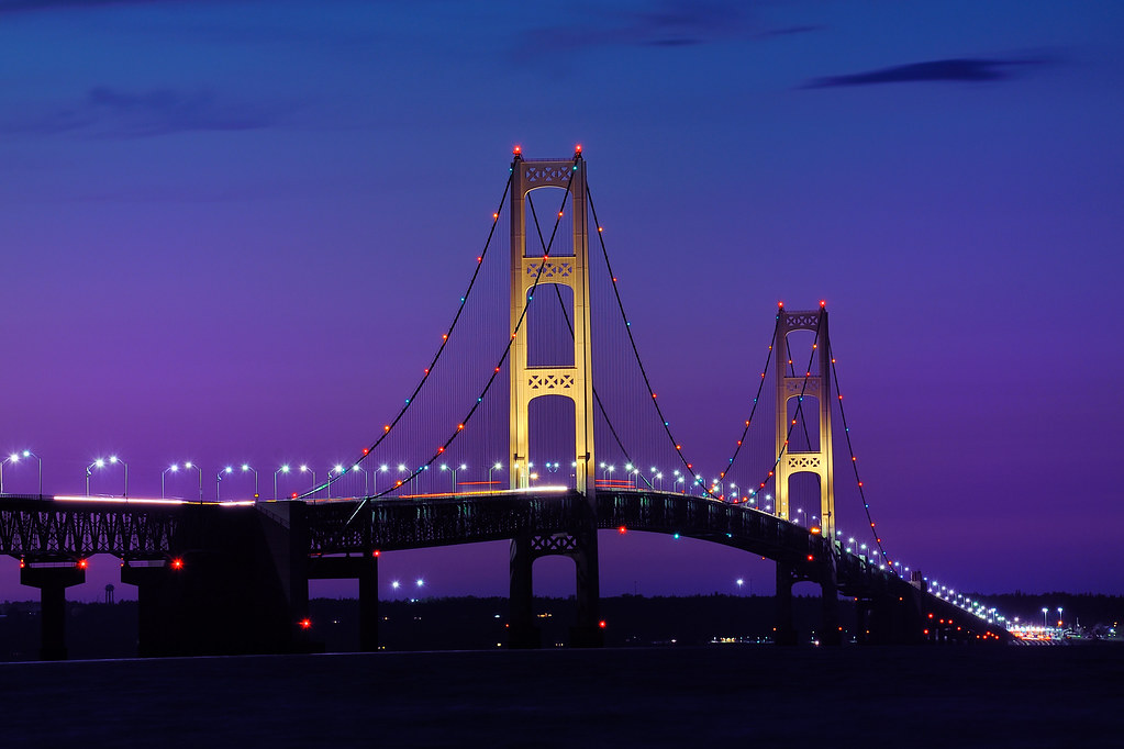 Pure Michigan Fall Wallpaper Quot Twilight Quot At Mackinac Bridge Mackinaw City Macinac Isla